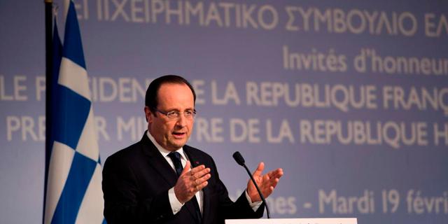 El presidente Hollande, hoy, durante su intervención en el foro económico griego. | Afp