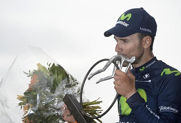 Alejandro Valverde en el podio de Ans. / Afp