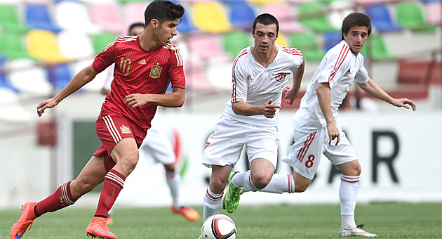 Marco Asensio durante el partido ante Georgia / Lasha Kuprashvili