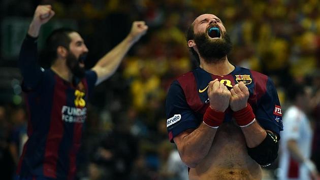 Noddesbo y Karabatic celebran el triunfo en la Champions. Foto: AFP