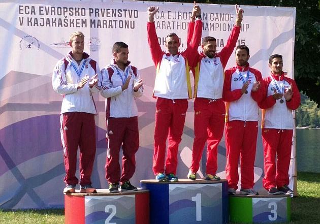 Emilio Merchán e Iván Alonso se colgaron el oro en la categoría K2 y estuvieron acompañados en el podio por sus compañeros Walter Bouzán y Álvaro Fernández Fiuza