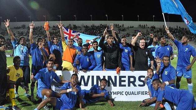 Fiji celebra su clasificación.