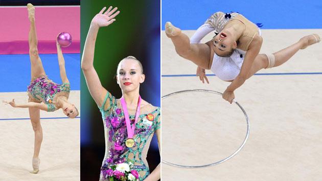 Kudryavtseva y Mamun, en el Mundial 2015 de gimnasia rítmica. Fotos: AFP