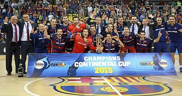 La celebración en el Palau por el nuevo título azulgrana. / Afp