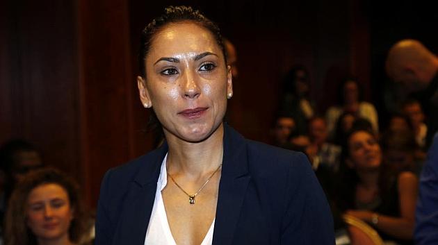 Brigitte Yagüe, en la rueda de prensa de su adiós.