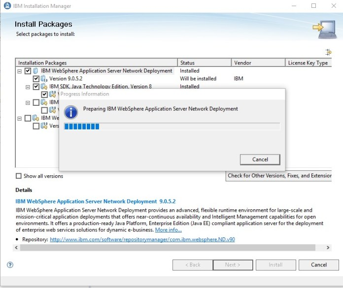 IBM Installation Manager, WebSphere Application Server, WAS, Esta Tuani