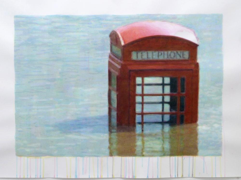 painting aguadas telephone box esteban peña art