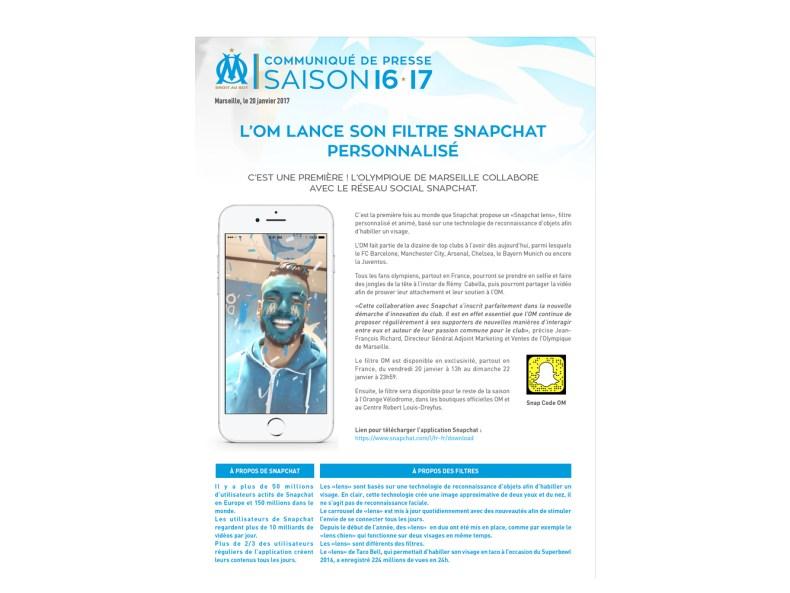 communique de presse Olympique de Marseille