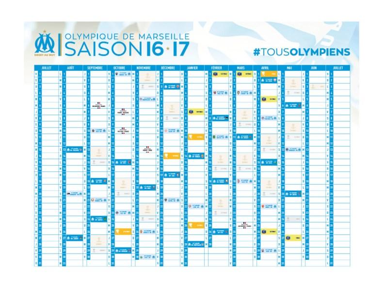 calendrier geant OM saison 16-17