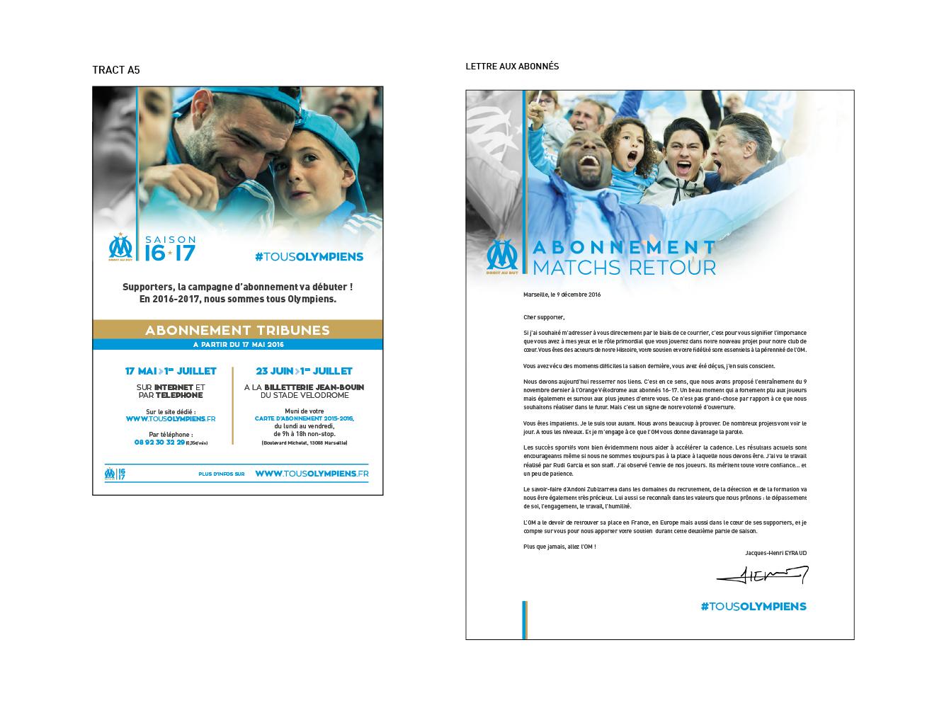 supports print campagne d'abonnement Olympique de Marseille