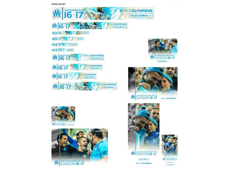 declinaisons promotion campagne d'abonnement Olympique de Marseille