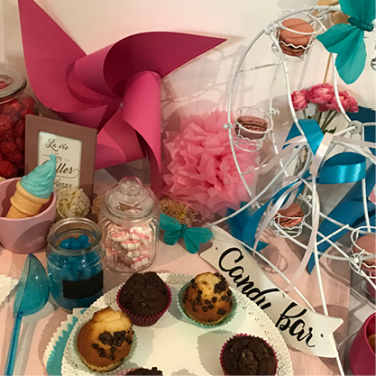 candy bar bleu et rose