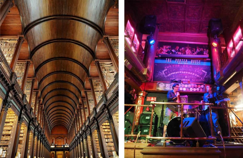 Bibliothèque de Dublin à gauche et concert dans les bars à gauche