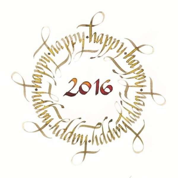 Caligrafia italica Happy 2016
