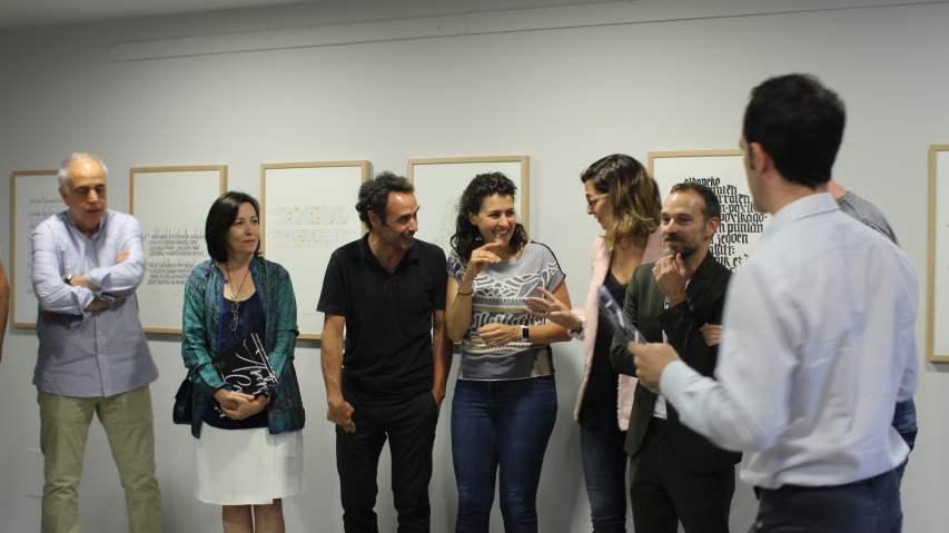 Amigos calígrafos en la inauguración de la exposición caligráfica en Arantzazu