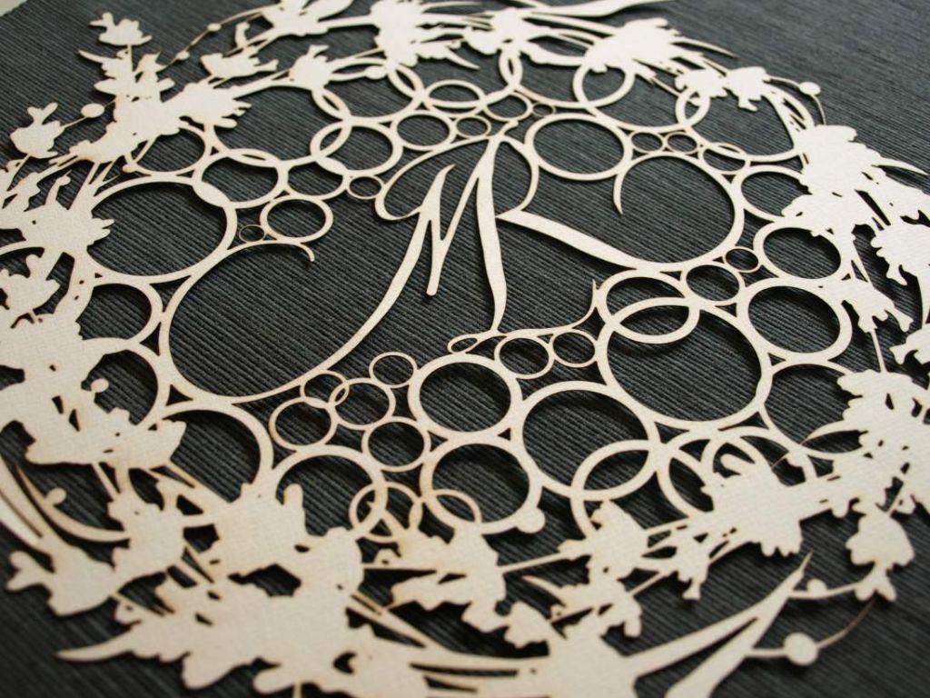 Monograma en papel recortado, caligrafía en 3D