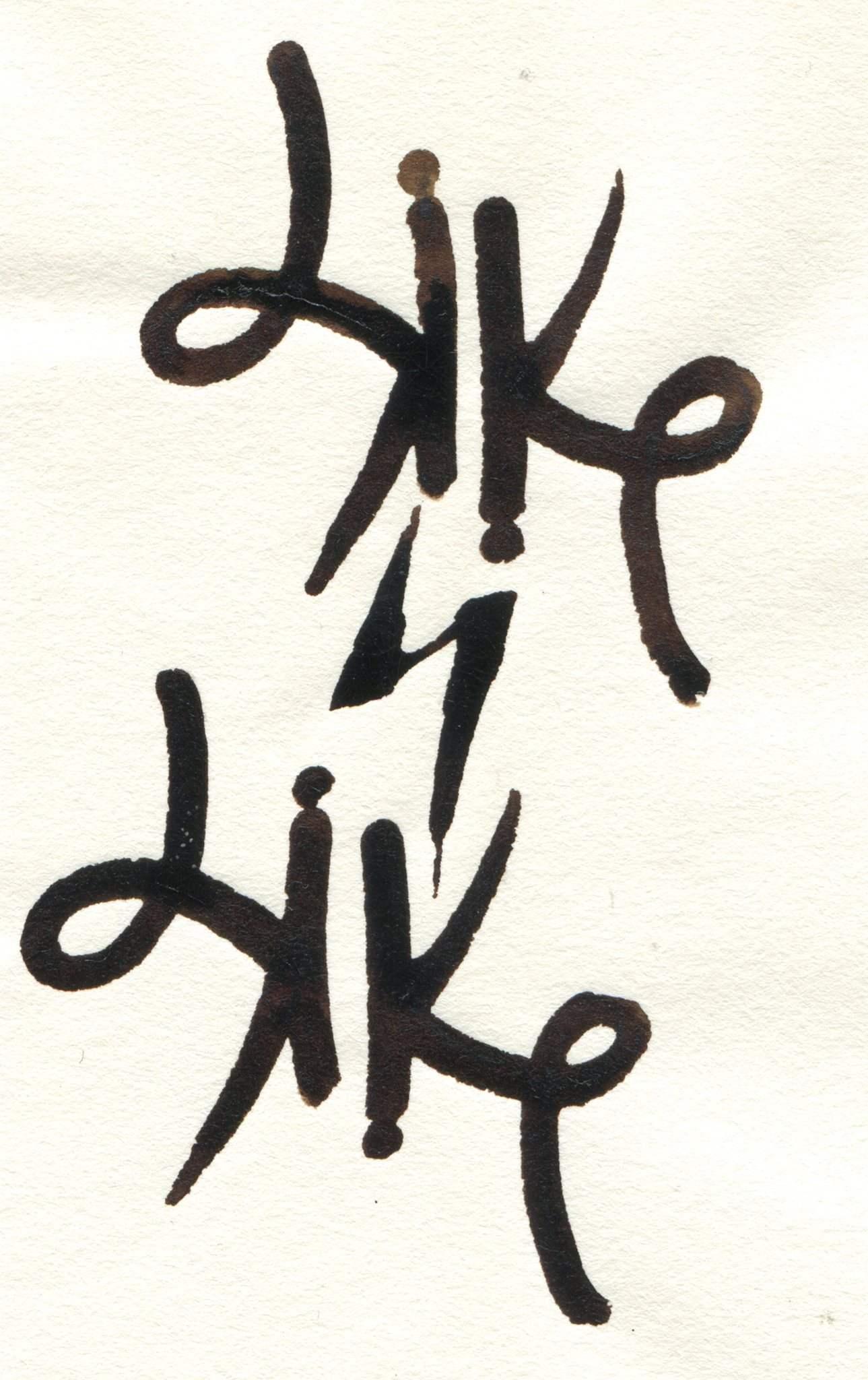 Original Like4like caligrafiado sobre papel con plumilla metálica
