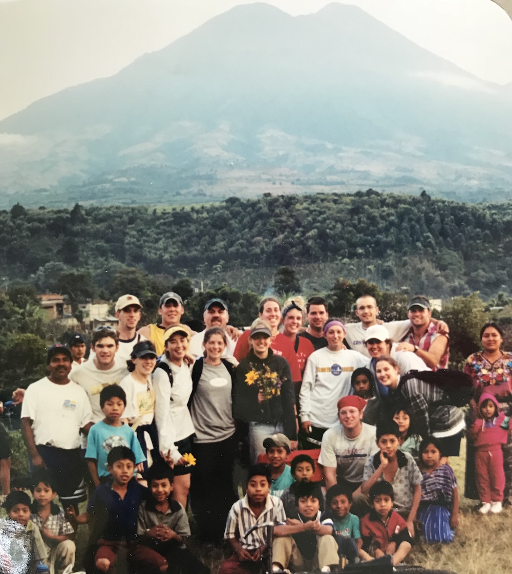 Gordon College missions team in Guatemala 2002 | Volcan de Acetenango on the left; Volcan de Fuego on the right