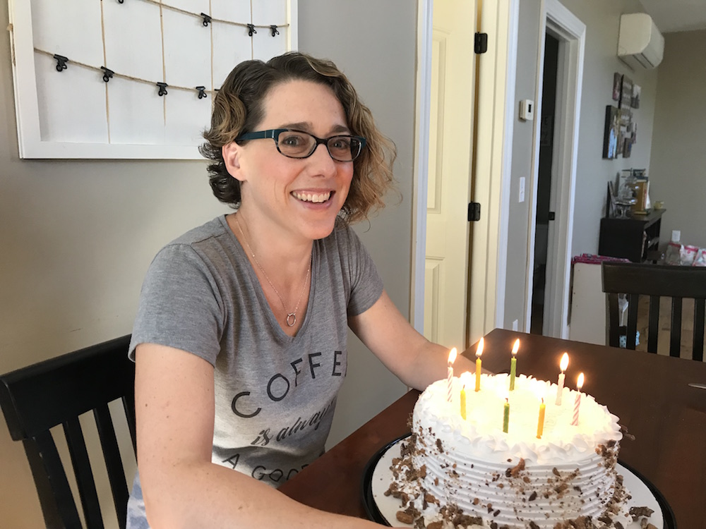 Esther Littlefield with birthday cake | 5 Things I've Learned in 38 Years