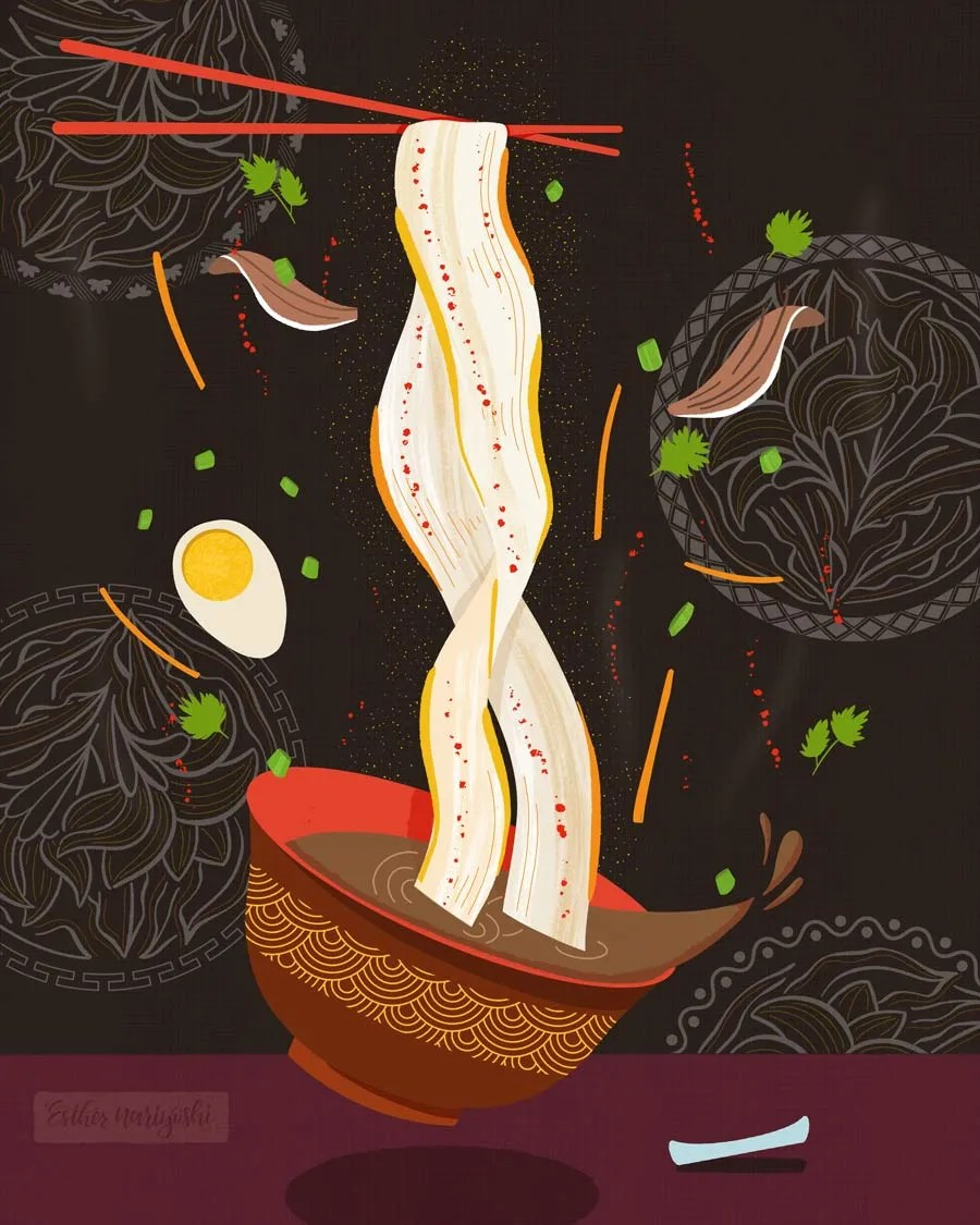 Delicious Chinese Noodle food Illustration
