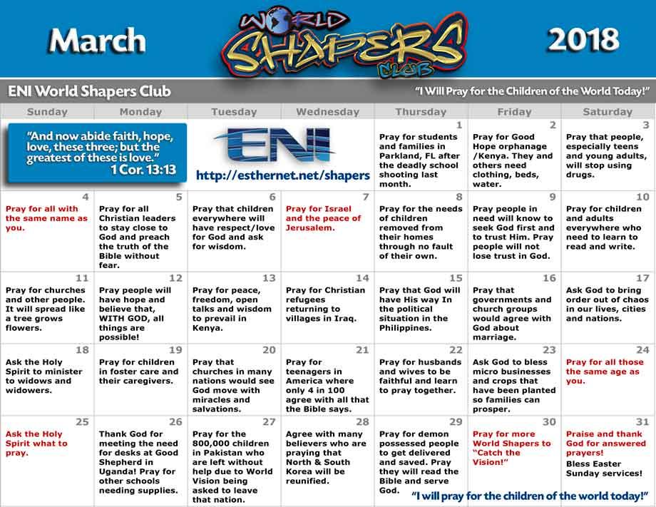 World Calendar.World Shapers Club March 2018 Prayer Calendar Esther Network