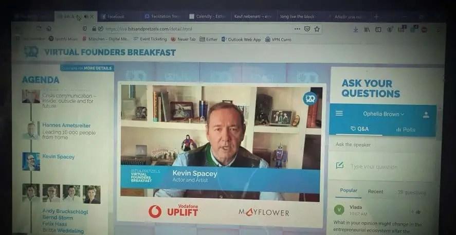 (Español) Kevin Spacey - Virtual Founders Breakfast #bitsathome