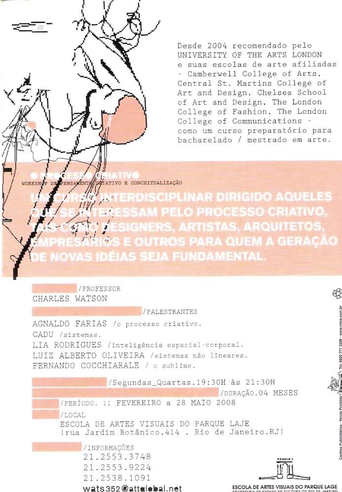 Curso O PROCESSO CRIATIVO - Escola de Artes Visuais do Parque Lage (2/6)