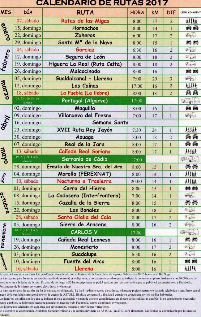 Calendario de Rutas de Senderismo 2017