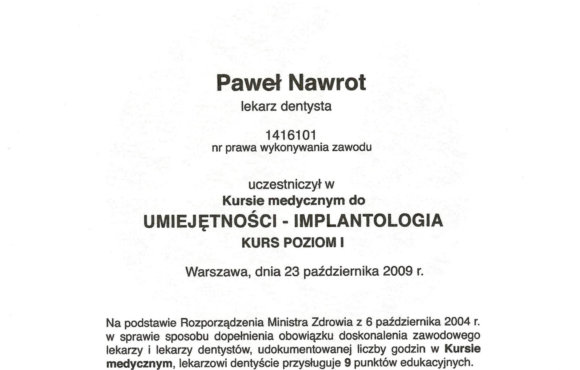 Implantologia poziom I
