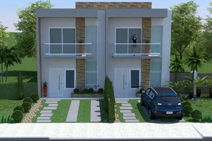 Double Storey Duplex House Front Elevation Design Plans Brazil