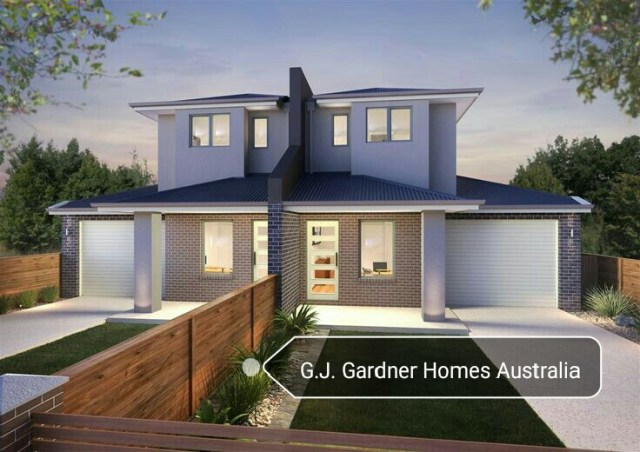 Double storey duplex house with facebricks garage and for Duplex home designs melbourne