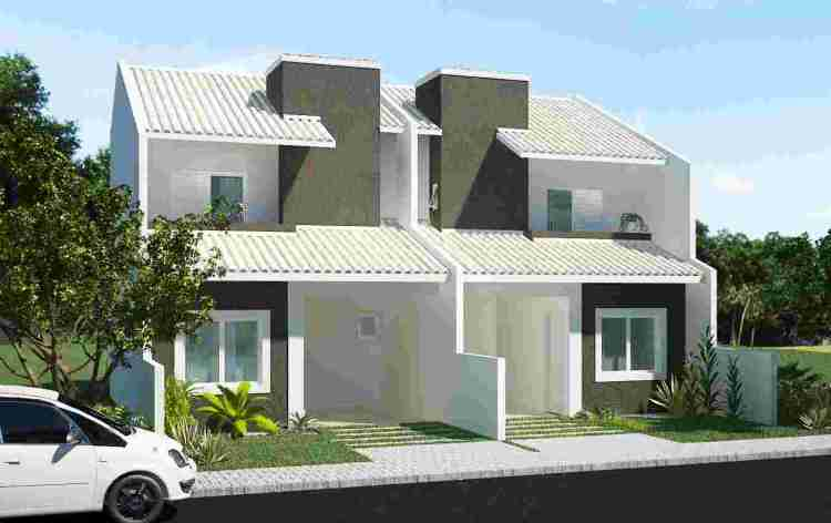 Two level duplex house with chimney and patio by for Duplex building cost estimator