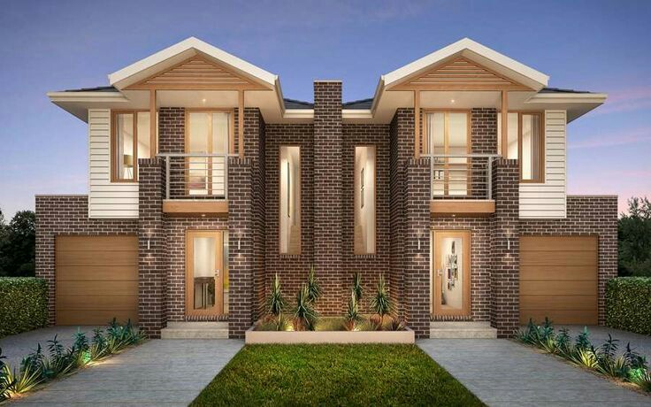 Two Storey Duplex House with Hip Roof, Garage and Facebrick Walls ...