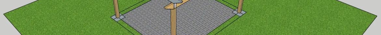 3D design - Timber Pergola with precast concrete paving blocks.