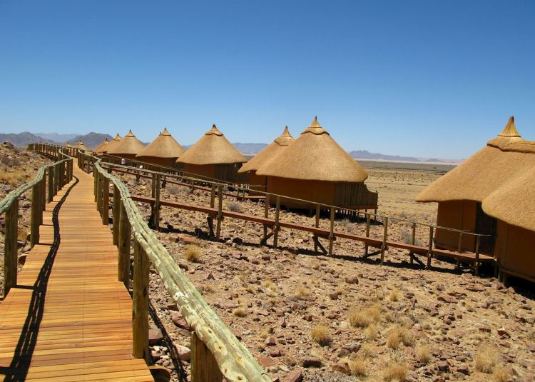 Wooden Walkway Boardwalk on Stilts Sossus Dune Lodge in Sossusvlei Namibia