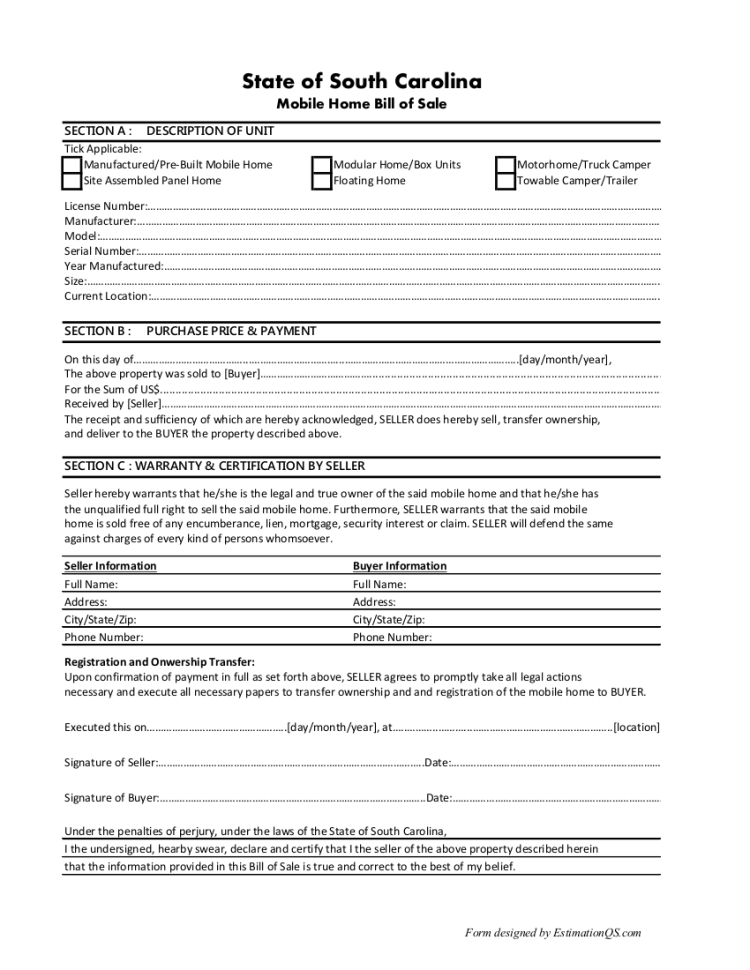 South Carolina Mobile Home Bill of Sale - Free Template