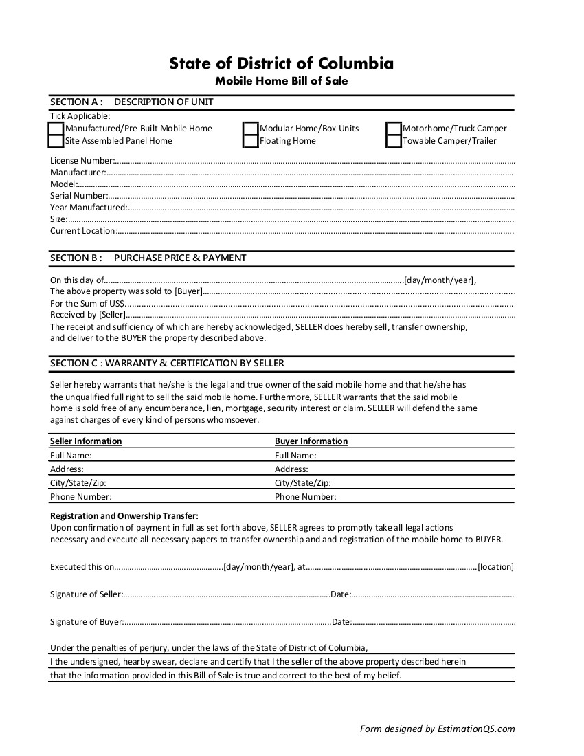 District of Columbia Mobile Home Bill of Sale - Free Template