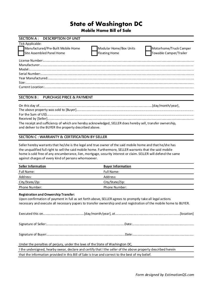 Washington DC Mobile Home Bill of Sale - Free Template