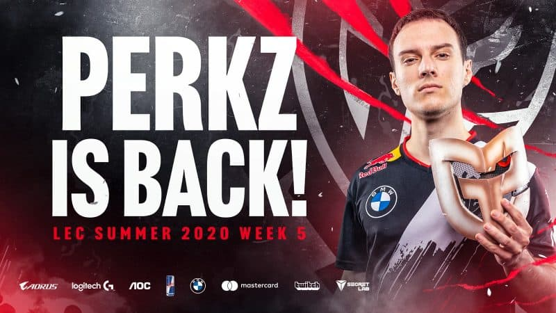 "League of Legends player Perkz holding a G2 samurai mask with the words ""Perkz is back"" next to him"