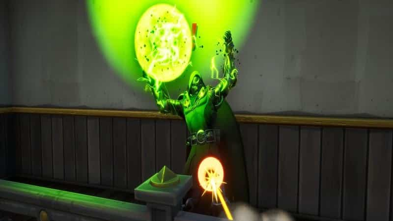 Dr Doom using his Mystical Bomb ability in game