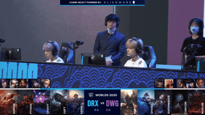 The DRX LoL team on the Worlds 2020 stage ahead of their match against Damwon Gaming with their game three drafts below