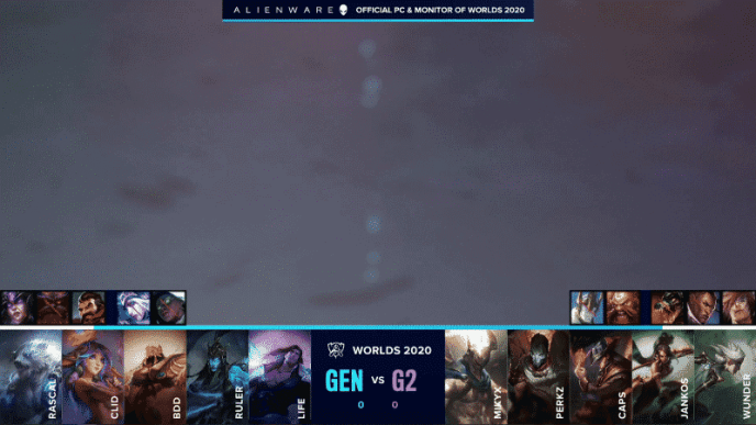 A photo of fake water appears above the drafts for game one of Gen.G versus G2 Esports at Worlds 2020