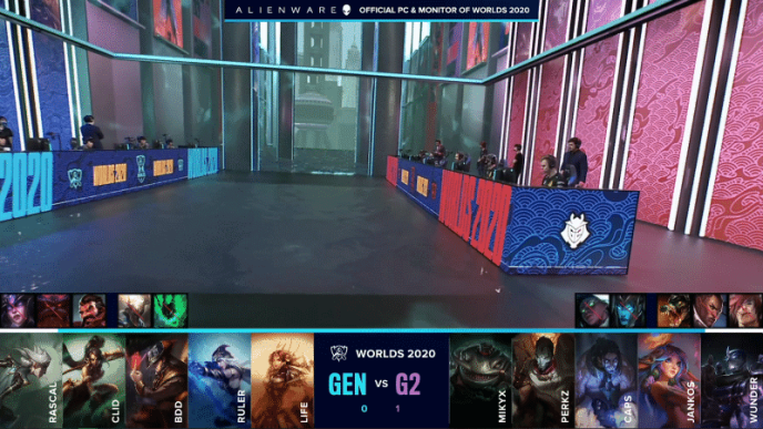 The Gen.G and G2 Esports ahead of their game two against each other with their drafts below