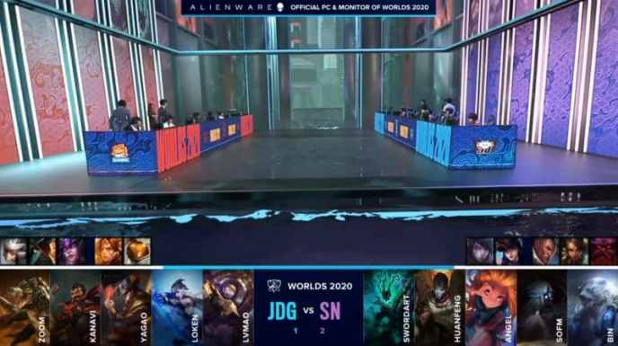 The Suning and JD Gaming LoL rosters on the flooded worlds 2020 stage with their game four drafts below