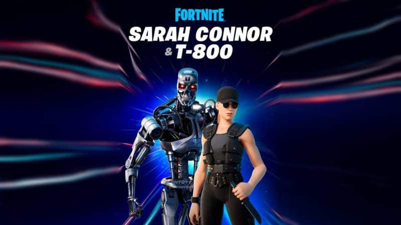 """Top 10 Best Fortnite Skin: From 2017 to 2021   The Fortnite versions of the robotic Terminator and Sarah Connor appear above the text """"Fortnite Sarah Connor & T-800"""" with a space-like background behind them"""
