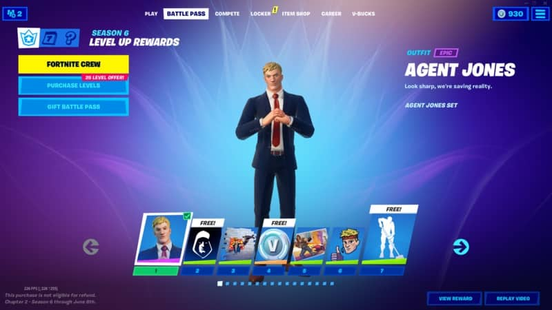 Top 10 Best Fortnite Skin: From 2017 to 2021   A screenshot from Fortnite on the Battle Pass section with a few different boxes showing different selections. The new Agent Jonesy skin stands in the middle of the image.