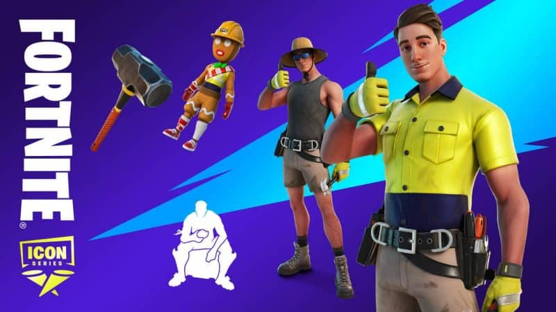 """Top 10 Best Fortnite Skin: From 2017 to 2021   The Lazarbeam Fortnite ICON skin holds a thumbs up with another outfit, a gingerbread with a hard hat, a sledgehammer and a white silhouette of a person sitting. The word """"Fortnite"""" is on the side of the screen with the ICON Series shield logo beneath it."""