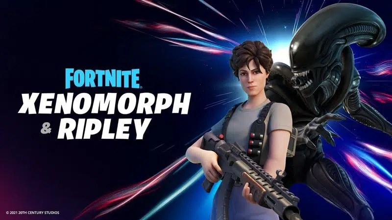 """Top 10 Best Fortnite Skin: From 2017 to 2021   Ellen Ripley's and Alien's Fortnite skins appear next to the words """"Fortnite Xenomorph & Ripley""""."""