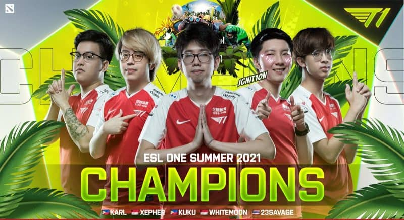 """The roster for T1 stands infront of a bright yellow background decorated with palm trees and tropical plants. The words """"ESL One Summer 2021 Champions"""" appear beneath them in bold yellow and white letters"""