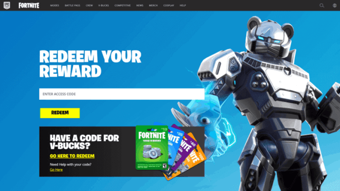 """A mechanical panda figure appears in the Fortnite client with the words """"Redeem Your Reward"""" and a search bar."""